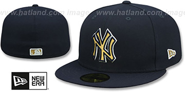 Yankees GOLD METALLIC STOPPER Navy Fitted Hat by New Era