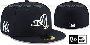 Yankees GOLD STATED INSIDER Navy Fitted Hat by New Era