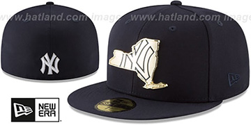 Yankees GOLD STATED METAL-BADGE Navy Fitted Hat by New Era