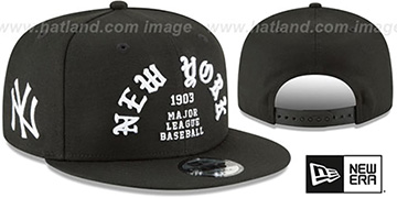 Yankees 'GOTHIC-ARCH SNAPBACK' Black Hat by New Era