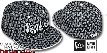Yankees GRAFFITI ALL-OVER FLOCKING Black-White Fitted Hat by New Era