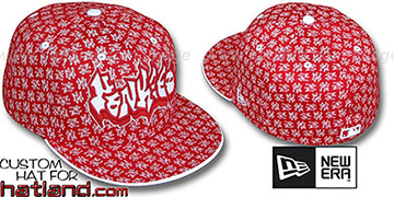 Yankees GRAFFITI ALL-OVER FLOCKING Red-White Fitted Hat by New Era