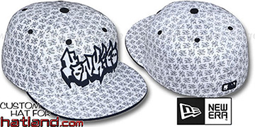 Yankees GRAFFITI ALL-OVER FLOCKING White-Navy Fitted Hat by New Era