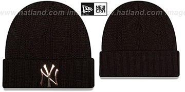 Yankees 'HARDWARE LOGO' Black Knit Beanie Hat by New Era
