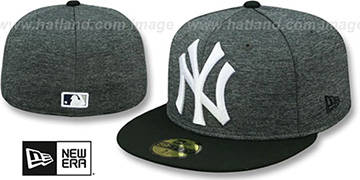 Yankees HEATHER-HUGE Grey-Black Fitted Hat by New Era