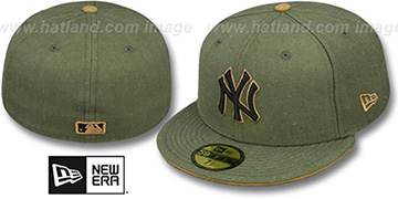 Yankees 'HEATHER SLICE' Olive Fitted Hat by New Era