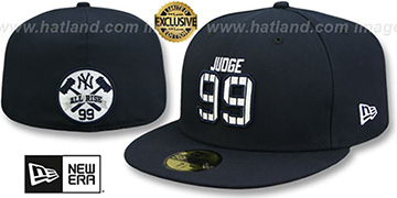 Yankees JUDGE PINSTRIPE ALL RISE BACK Navy Fitted Hat by New Era