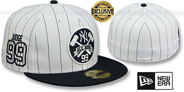 Yankees JUDGE PINSTRIPE ALL RISE FRONT White-Navy Fitted Hat by New Era