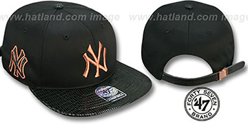 Yankees JULIGUNK STRAPBACK Black-Copper Hat by Twins 47 Brand