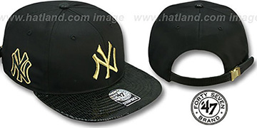 Yankees 'JULIGUNK STRAPBACK' Black-Gold Hat by Twins 47 Brand