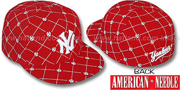 Yankees KINGSTON ALL-OVER Red-White Fitted Hat by American Needle
