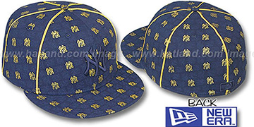 Yankees KWAN ALL-OVER FLOCKING Navy-Gold Fitted Hat by New Era