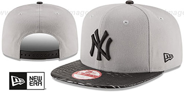 Yankees 'LEATHER-RIP SNAPBACK' Grey-Black Hat by New Era