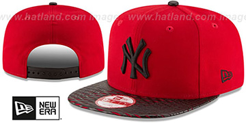 Yankees 'LEATHER-RIP SNAPBACK' Red-Black Hat by New Era