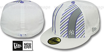 Yankees LINEN STRIPE White-Lavender Fitted Hat by New Era