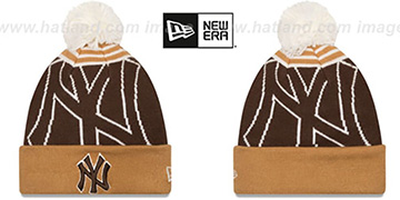 Yankees LOGO WHIZ Brown-Wheat Knit Beanie Hat by New Era