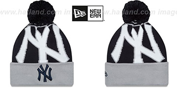 Yankees LOGO WHIZ Navy-Grey Knit Beanie Hat by New Era