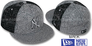 Yankees MELTON PUFFY PINWHEEL Grey-Black Fitted Hat by New Era
