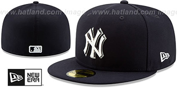 Yankees METAL-N-THREAD Navy Fitted Hat by New Era