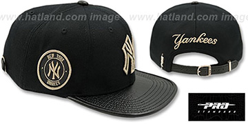 Yankees 'METALLIC POP STRAPBACK' Black Hat by Pro Standard