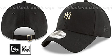 Yankees 'MINI GOLD METAL-BADGE STRAPBACK' Black Hat by New Era