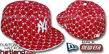 Yankees MLB FLOCKING Red Fitted Hat by New Era
