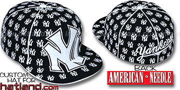 Yankees MONSTER DICE ALL-OVER Black-White Fitted Hat by American Needle