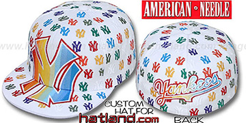 Yankees 'MONSTER RAINBOW DICE ALL-OVER' White Fitted Hat by American Needle