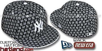 Yankees NY ALL-OVER FLOCKING Black-White Fitted Hat by New Era