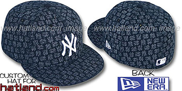 Yankees NY 'FADE ALL-OVER FLOCKING'  Navy-White Fitted Hat by New Era