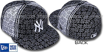 Yankees NY-PJs FLOCKING PINWHEEL Black-White Fitted Hat by New Era