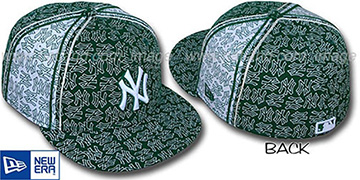 Yankees NY-PJs FLOCKING PINWHEEL Green-White Fitted Hat by New Era