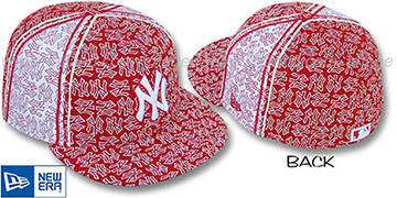 Yankees NY-'PJs FLOCKING PINWHEEL' Red-White Fitted Hat by New Era
