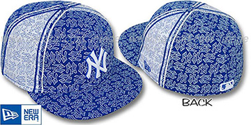 Yankees NY-PJs FLOCKING PINWHEEL Royal-White Fitted Hat by New Era