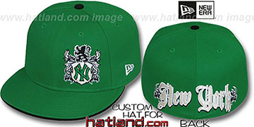 Yankees OLD ENGLISH SOUTHPAW Green-Black Fitted Hat by New Era