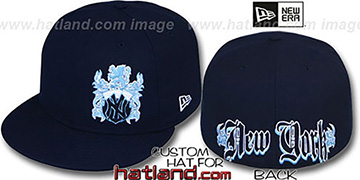 Yankees 'OLD ENGLISH SOUTHPAW' Navy-Baby Blue Fitted Hat by New Era
