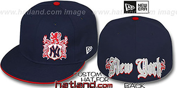 Yankees OLD ENGLISH SOUTHPAW Navy-Red Fitted Hat by New Era