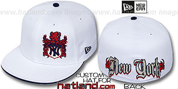 Yankees 'OLD ENGLISH SOUTHPAW' White-Navy Fitted Hat by New Era