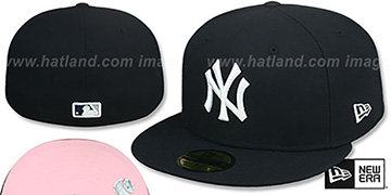 Yankees PINK-BOTTOM Navy Fitted Hat by New Era