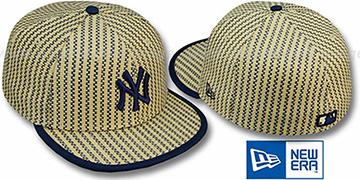 Yankees PINSTRIPE 'WEAVE' Tan-Navy Fitted Hat by New Era