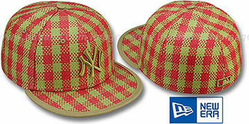 Yankees PLAID WEAVE Red-Olive Fitted Hat by New Era