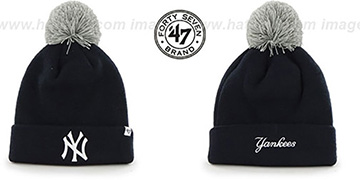 Yankees POMPOM CUFF Navy Knit Beanie Hat by Twins 47 Brand