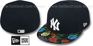 Yankees 'REAL FLORAL VIZA-PRINT' Navy Fitted Hat by New Era