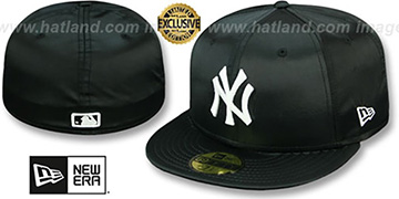 Yankees SATIN BASIC Black Fitted Hat by New Era