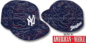 Yankees SILLY STRING ALL-OVER Navy Fitted Hat by American Needle