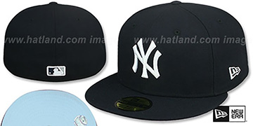 Yankees SKY-BOTTOM Navy Fitted Hat by New Era
