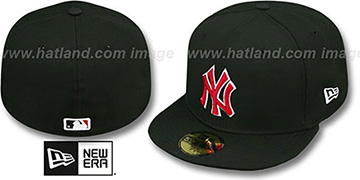 Yankees 'SOLID TEAM-BASIC' Black-Red Fitted Hat by New Era
