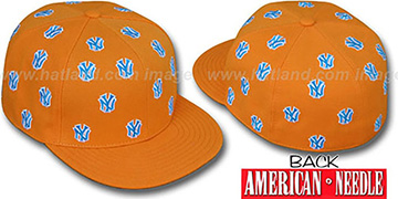 Yankees SUMMERTIME ALL-OVER Orange Fitted Hat by American Needle