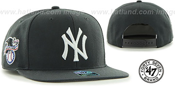 Yankees SURE-SHOT SNAPBACK Charcoal Hat by Twins 47 Brand