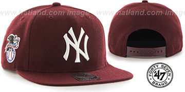 Yankees 'SURE-SHOT SNAPBACK' Maroon Hat by Twins 47 Brand